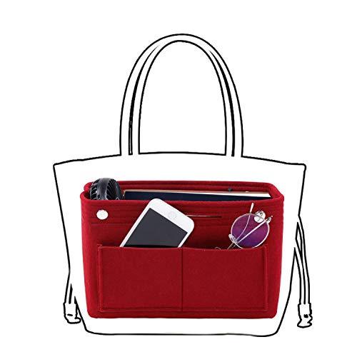 バッグインバッグ LIVEBOX Bag in Bagバッグインバッグフェルト レディース メンズ バッグの整理整頓 収納便利 インナーバッグ 自立 軽量 大容量 5色 (M, レッド)