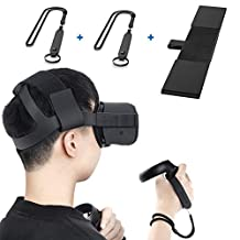 KIWISMART Headband Head Strap for Oculus Quest VR Headset & A Pair Knuckle Straps with Adjustable Wrist Straps for Oculus Quest Touch Controller Accessories (Black)