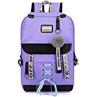 School Backpack Canvas Large Capacity USB School Bags for Girls Teenagers Backpack Women Bookbags Green Middle High College Teen Schoolbag Girl (Color : Lavender, Size : -)