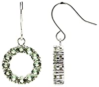 Pori Jewelers レディース メッキ真鍮9ストーンラウンドちらつかはキュービックジルコニアイヤリングをドロップ(5.28 CT) ホワイトゴールドメッキ