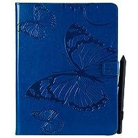 携帯ケース レトロな蝶花柄PUレザーウォレットアンチスクラッチ保護ケース(iPad 2/3/4用)、ホルダー付きカードスロットウォレット (色 : 青)