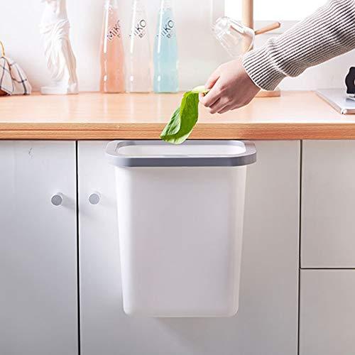 Wholehot キッチンゴミ箱 生ゴミ 蓋なし 10L ゴミ袋ホルダー付き つり下げゴミ箱キッチンキャビネット 食器棚ドアにかける ゴミ袋固定リング付き ダストボックス リビングルーム キッチン 洗面所用 大容量 ぶら下げゴミ箱 丈夫なプラスチック (ホワイト)