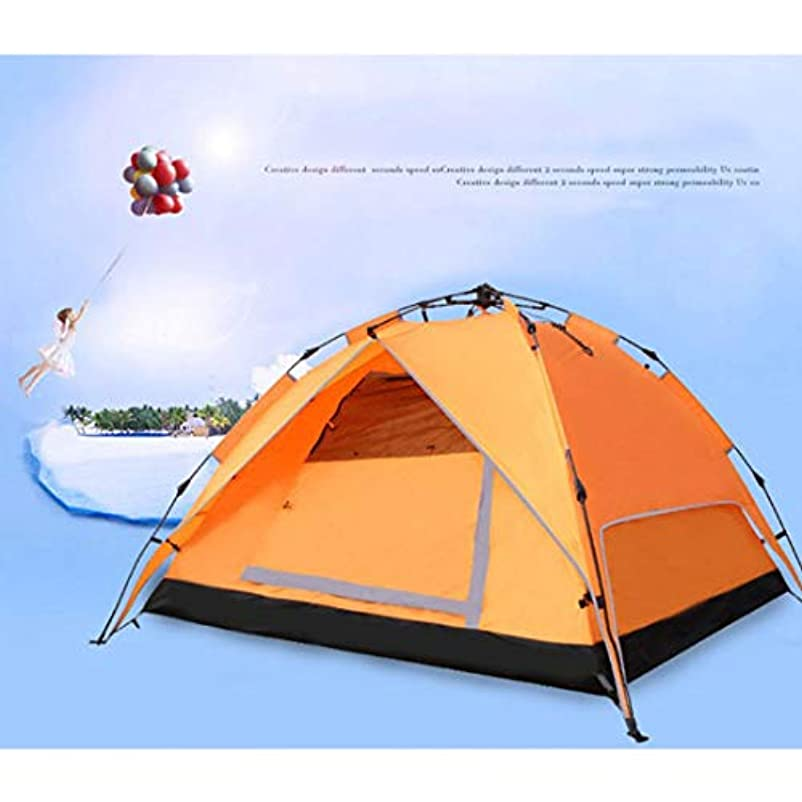 目覚めるライバル薄暗いNekovan 二重層の防水ガラス繊維のポーランド人が付いている屋外のキャンプのためのキャンプテント。 (色 : オレンジ, サイズ : 3-4P)