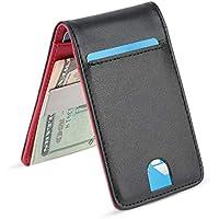 YOOMALL Slim Money Clip Wallets for Men Front Pocket Wallet Card Holder (Black & red (Upgrades))