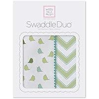 SwaddleDesigns SwaddleDuo Set of 2 Swaddling Blankets Cotton Marquisette + Premium Cotton Flannel Kiwi Chic Chevron Duo [並行輸入品]