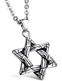 チタンステンレスStar of David six-pointed Starスチールメンズネックレスパンクスタイルレトロスタイルby DELIFUR