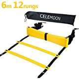 CeleMoon Upgraded Material 12-Rungs Agility Speed Training Ladder + Black Carry Case, with Connecting Snap, Ideal for Soccer, Football, Fitness, Feet Training, Yellow