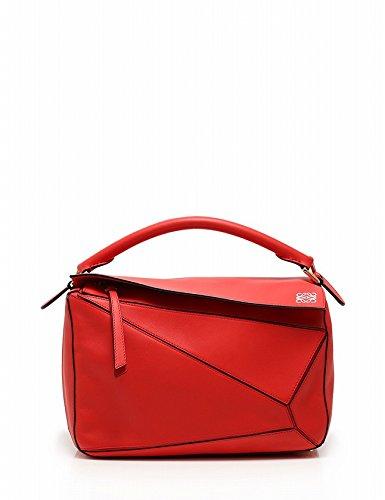 (ロエベ) LOEWE Puzzle Bag rouge パズルバッグ ハンドバッグ 2WAY レザー 赤 中古