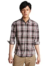 3/4 Sleeve Check Buttondown Shirt 3216-149-0333: Black