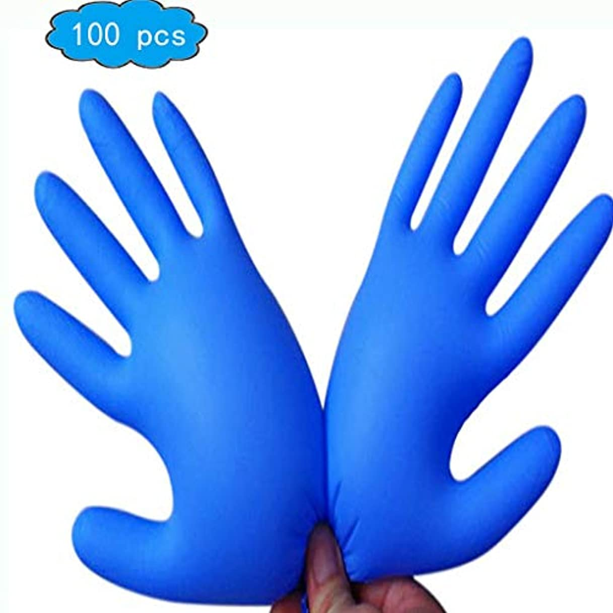 通常必要とするスノーケル使い捨てニトリル試験手袋、(青)、医療グレード、ラテックスフリー、パウダーフリー、食品安全(100)、家庭用品、手と腕の保護 (Color : Blue, Size : L)