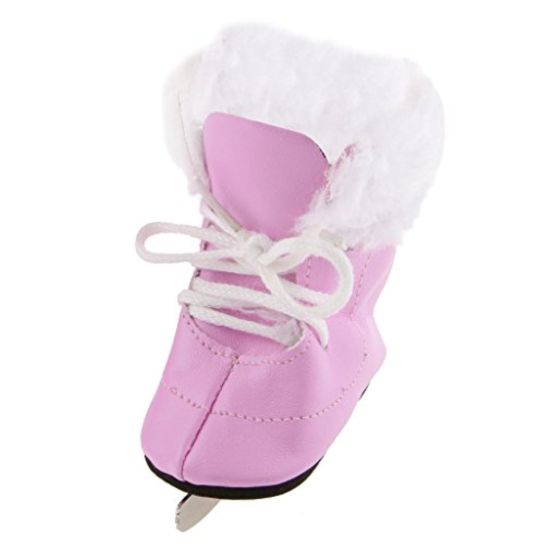 【ノーブランド品】ファッション  人形 18 インチ アメリカンガール  きせかえ人形用 人形靴  スケート靴  赤