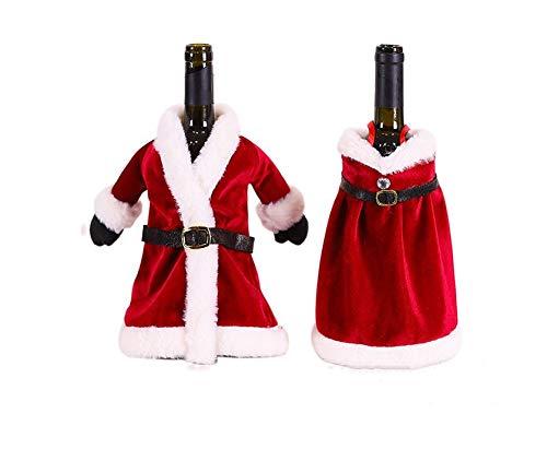 Ansimple クリスマス ボトルカバー ワイン 日本酒 シャンパン用 デコレーション 飾り 2点セットサンタ服 クリスマス 新年 パーティーアクセサリー
