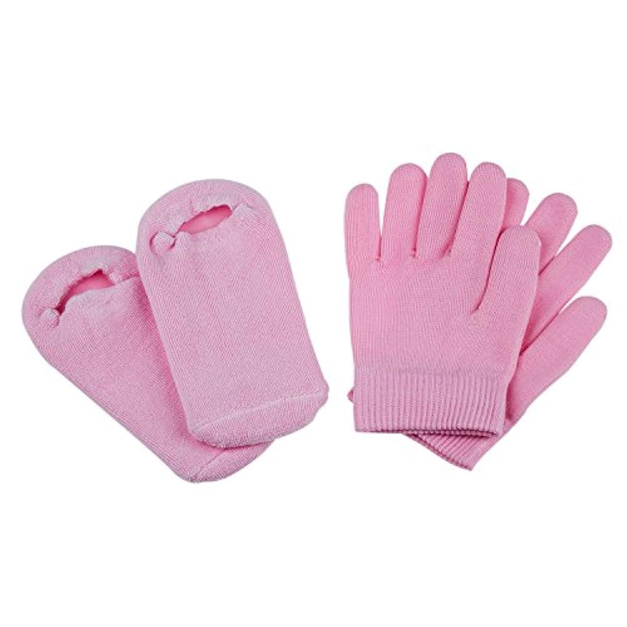 考古学者スタウト医薬ACAMPTAR ビューティーSPAソックスと手袋 モイスチャライジングジェルセラピースキンケア ピンク色
