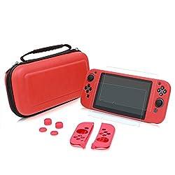 Liang Nintendo Switch 収納ケース 5点セット 【保護ケース+Switch本体カバー+Joy-Conカバー+保護フィルム2枚+アシストキャップ4個】(レッド)