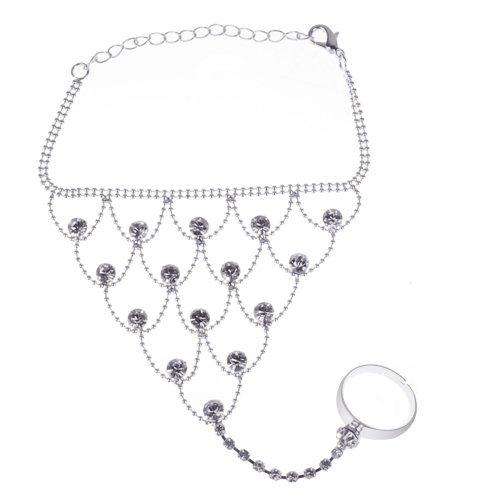 [해외]SODIAL (R) 크리스탈 합금의 밸리 댄스 의상 슬레이브 팔찌와 조정 링 - 실버 톤/SODIAL (R) Crystal Alloy Belly Dance Costume Slave Bracelet and Adjustable Ring - Silver Tone