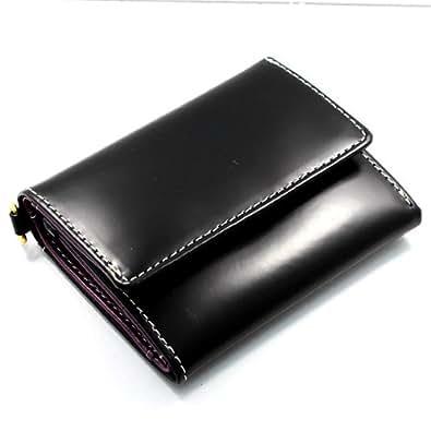 [ルミニーオ] luminio 三つ折り財布 コードバン 馬革 (ブラック)