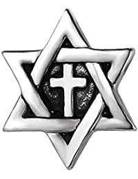 GuDeKe ユニセックス ジュエリー アクセサリー 六芒星 十字架 ブローチ ラペルピン (アンティークシルバー)