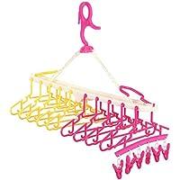 Te Fiti 赤ちゃん10連ハンガー キッズ ベビーハンガー ハンガーラック 洗濯ハンガー 折り畳み 取り外し10連ハンガー(レッド&イェロー)