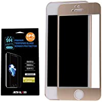 JIIZII GLASS iPhone SE/ 5S 日本製アルミフレーム+ガラスフィルム 耐衝撃 飛散防止 0.26mm 硬度9H【Gold】