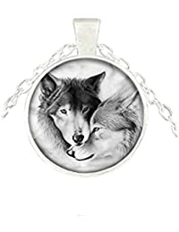 オオカミのペアネックレス オオカミのオオカミの宝石のペンダント オオカミのオオカミ愛好家贈り物カップルペンダントネックレス