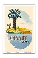 カナリア諸島 - ヤシの木とサボテン - ビンテージな世界旅行のポスター c.1950s - アートポスター - 31cm x 46cm