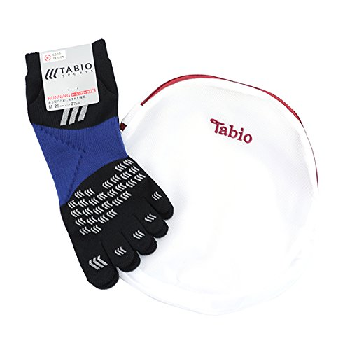 (Tabio)レーシングラン五本指ソックス25~27cm クロ(Tabio限定洗濯ネット付)