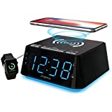 Alarm Clock Bedside Alarm Clock Dual Alarm,Night Light,Dimmer Control, Snooze, Sleep Timer,USB Charging,Wireless Charging,Backup Battery (iTOMA CKS801)
