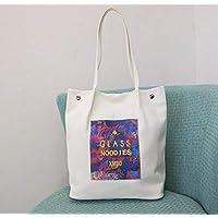 Has Many Uses Female Girls Multipurpose Canvas Light Large Shopping Shoulder Bag(White)