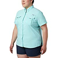 Columbia Sportswear Women's Plus-Size Bahama Short Sleeve Shirt, Clear Blue, 2X