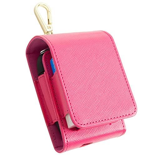 プルームエス ケース プルームS Ploom S 専用ケース サフィアーノレザー コンパクト スマートフリップタイプ カラビナフック付 マグネット式 電子たばこ 本体 たばこスティック 収納ホルダー (pink(ピンク))