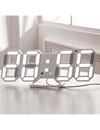 Formemory 電子時計 目覚まし時計 デジタル LED 高精度 自動点灯 気象計 温度計室内 ホーム 卓上電子温湿度計 時計 レディース メンズ カレンダー 壁掛け 置時計 おしゃれ 可愛い デジタルカラーバリエーション ホワイト