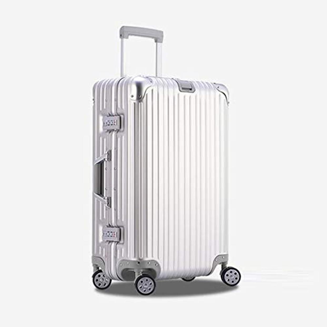 振るう高齢者不完全JTWJ スーツケース持ち運び用トロリーケース - 全金属アルミニウムマグネシウム合金4輪ハンドの荷物、シルバー、6サイズ (色 : シルバー しるば゜, サイズ さいず : 26 inches)