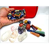 """Jet 24 Stone Auspicious Set"" w/Pouch Pendulum Bracelet Tumbled Double Point Chakra Set Natural Amethyst Rose Crystal Quartz Jet International Crystal Therapy Booklet"
