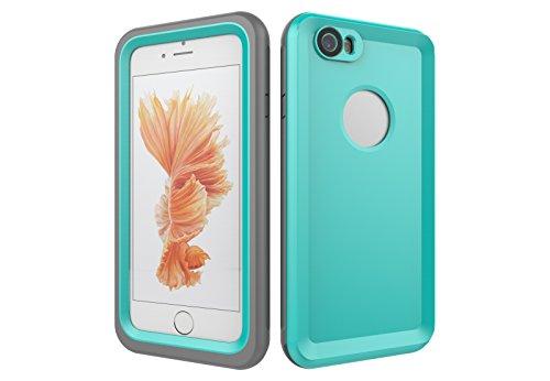 Iphone 6/6S 防水電話ケースは、HBER IP68完全密閉水泳ダイビング水中防塵耐雪性の耐震ヘビーデューティケースカバーは、iphone6/6Sのために敏感な画面タッチ指紋認証ロック解除をサポートしています (ミントグリーン)
