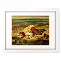 ウジェーヌ・ドラクロワ Ferdinand Victor Eugene Delacroix 「Brigand blesse se trainant pres d'un ruisseau (Ein verwundeter Rauber, der sich zu einem Bach schleppt), 1825.」 額装アート作品