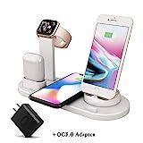 (QC3.0アダプターが付属)ワイヤレス充電器、FDGAOワイヤレス充電スタンド4 in 1、充電ドック対応Apple Watch Series 4/3/2/1とAirpods 、ワイヤレス充電対応iPhone X/Xs Max/Xs/XR/8/8 Plus, Samsung Galaxy S10/S10+/S9/S8/S8 Plus/Note 9、など-ブラック