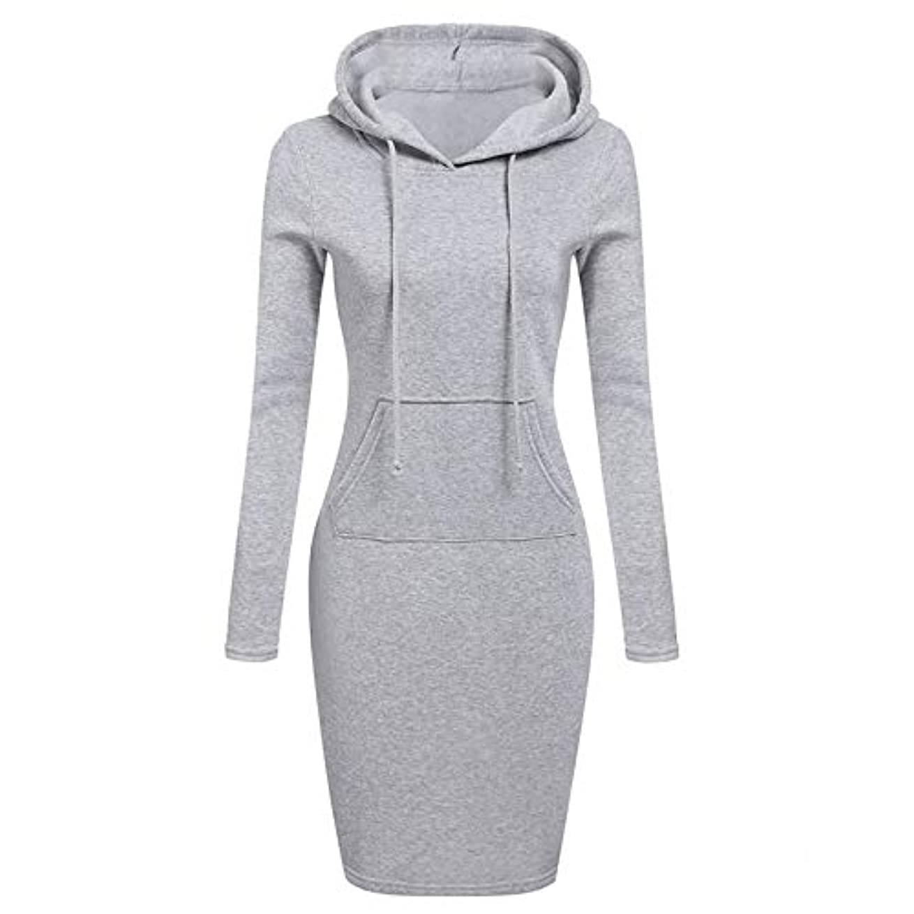逆さまに絶望的なうなずくOnderroa - ファッションフード付き巾着フリースの女性のドレス秋冬はドレス女性Vestidosパーカースウェットシャツドレスを温めます