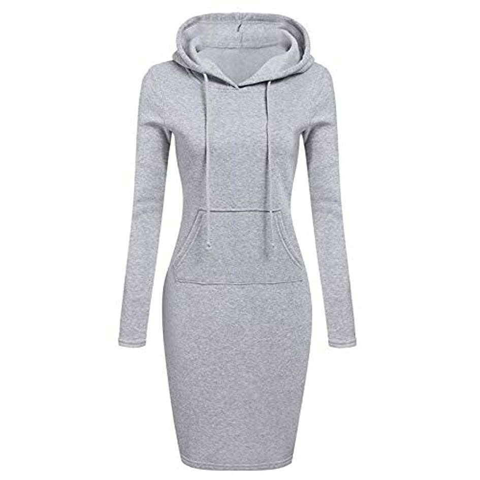 満員通り抜けるエリートOnderroa - ファッションフード付き巾着フリースの女性のドレス秋冬はドレス女性Vestidosパーカースウェットシャツドレスを温めます
