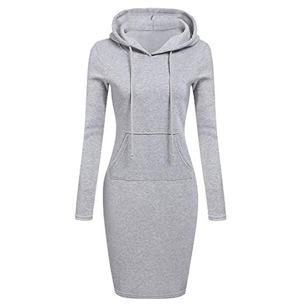 調和のとれた戻すOnderroa - ファッションフード付き巾着フリースの女性のドレス秋冬はドレス女性Vestidosパーカースウェットシャツドレスを温めます