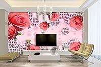 Minyose カスタム壁紙赤いバラ柄ボールピンクスノーフレーク背景3Dテレビのソファの背景壁の壁画写真3Dの壁紙-450cmx300cm