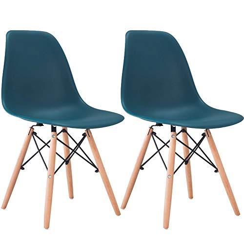 椅子 イームズシェルチェアリプロダクト ダイニングチェアレストラン、リビング、キッチン、宴会、オフィス使用など (2脚セット) (ダークブルー) [並行輸入品]