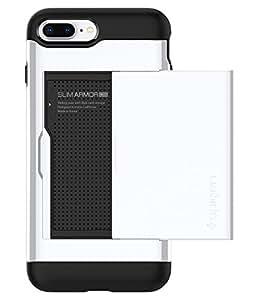 【Spigen】 iPhone8 Plus ケース / iPhone7 Plus ケース, [ Qi 充電 対応 ] [ IC カード収納 ] [ 米軍MIL規格取得 ] [ 落下 衝撃 吸収 ] スリム・アーマー CS アイフォン 8 プラス / 7 プラス 用 耐衝撃カバー (iPhone8 Plus / iPhone7 Plus,ジェット・ホワイト )
