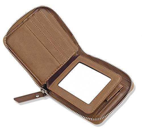 DSGUAN 財布 メンズ 二つ折り 本革 小銭入れ 防水人気 軽量 薄い 大容量 カード収納 (ブラウン)
