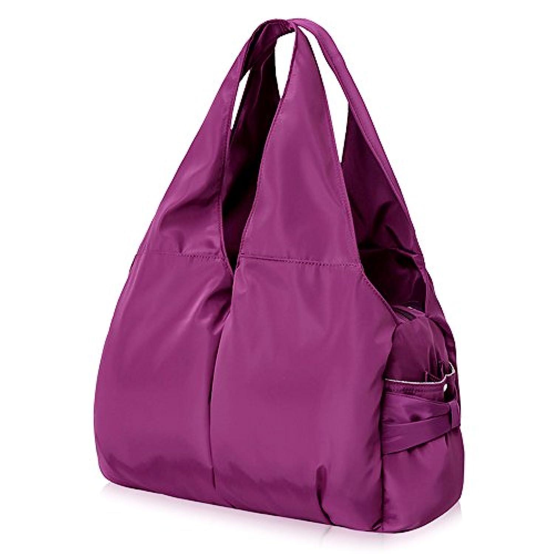 超軽量 マザーズバッグ ママバッグ リュック ナイロンショルダーバッグ アウトドアバッグ ハンドバッグ おしゃれ多機能 大容量 シンプル 防水 サイズ33*12*51cm【紫】