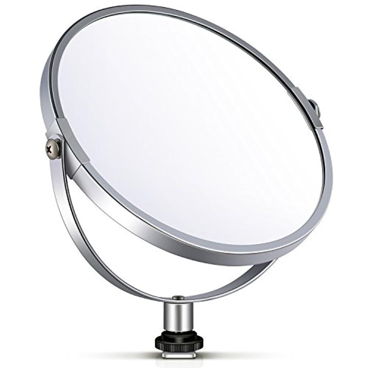 ぶら下がる保守的薄汚いNeewer 両面鏡 拡大鏡 化粧鏡 6 in/15.2 cm 円形 14 inのリングライト 自撮り 化粧 ポートレート用アダプタ付