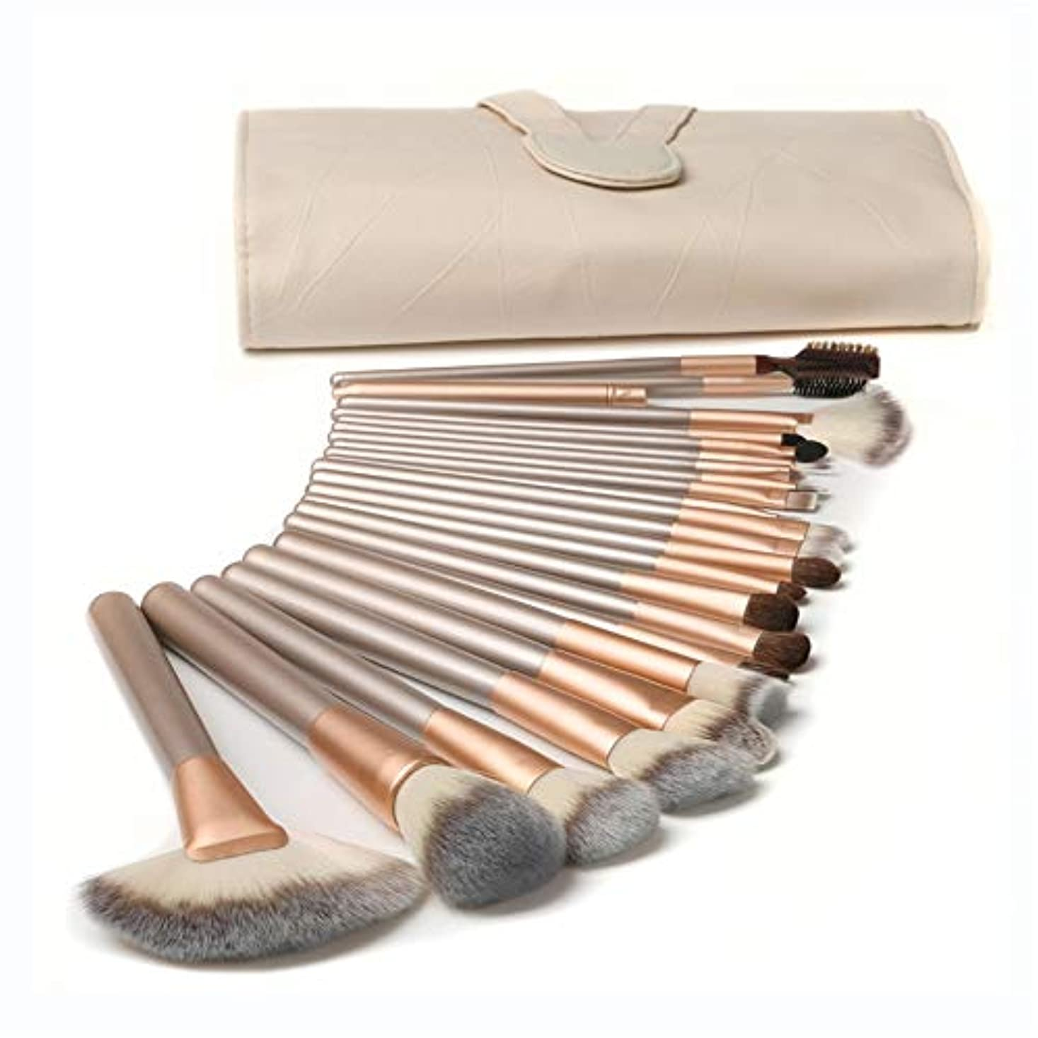 Makeup brushes ナイロンヘア、PUレザーエクリュメイクアップブラシセットポーチ、24Pcsプロメイクアップブラシプラント suits (Color : Beige)