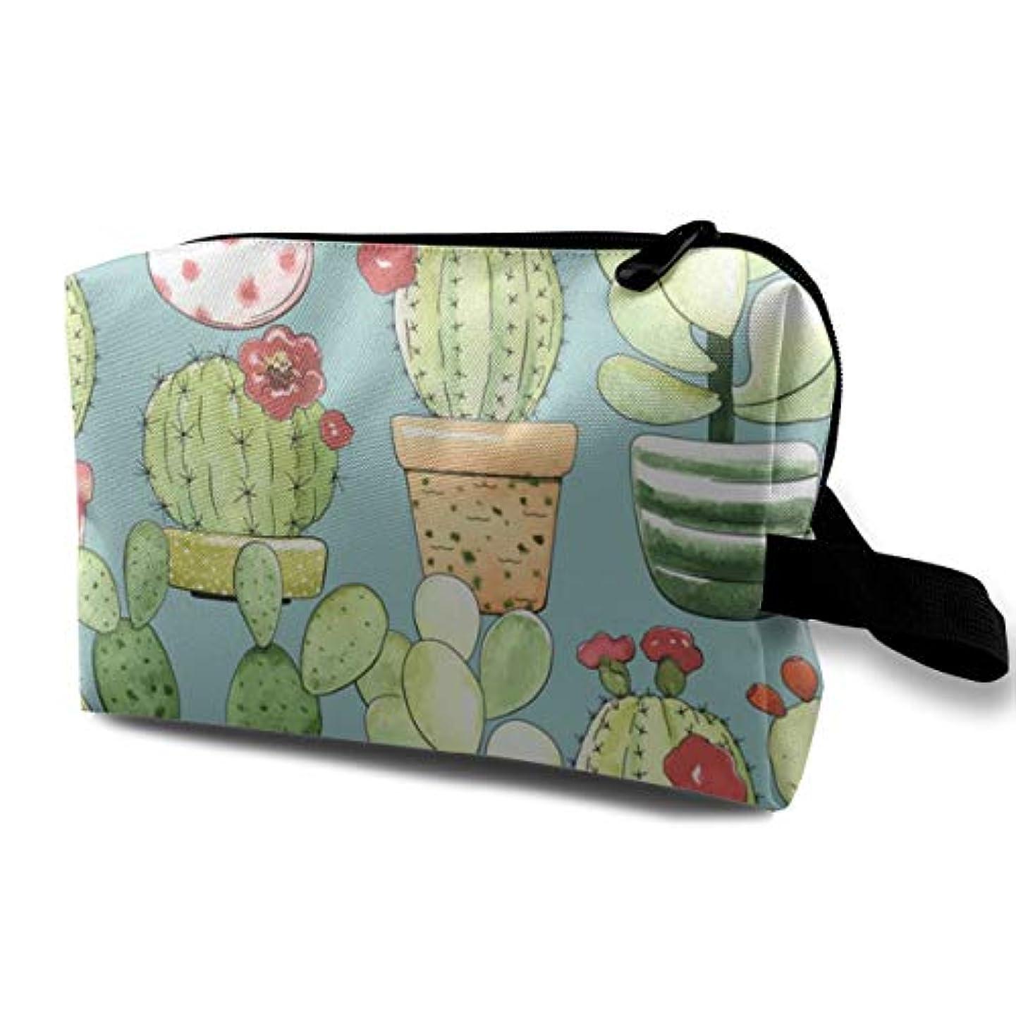 柔和制限された野菜Cacti 収納ポーチ 化粧ポーチ 大容量 軽量 耐久性 ハンドル付持ち運び便利。入れ 自宅・出張・旅行・アウトドア撮影などに対応。メンズ レディース トラベルグッズ