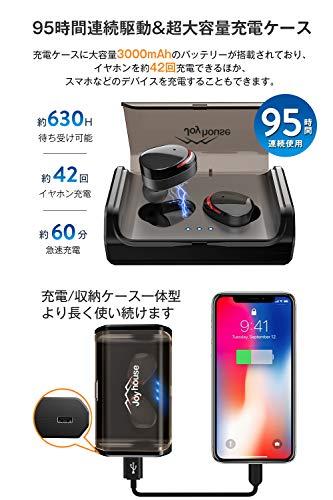 『【最先端Bluetooth5.0+EDRが搭載】Bluetooth イヤホン IPX7完全防水 95時間連続駆動 Hi-Fi高音質 3Dステレオサウンド CVC8.0ノイズキャンセリング&AAC8.0対応 自動ペアリング マイク付き 完全ワイヤレス イヤホン 両耳 左右分離型 タッチ式 マイク内蔵 ブルートゥース イヤホン 日本語音声提示 技適認証済 iPhone&Android対応 (ブラック) (ブラック) (ブラック)』の4枚目の画像
