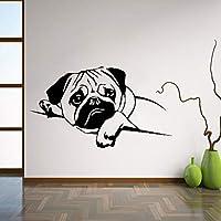 Ansyny 56 * 31センチパグ犬壁デカールペットビニールステッカーかわいい動物家の装飾部屋内壁アート用保育園