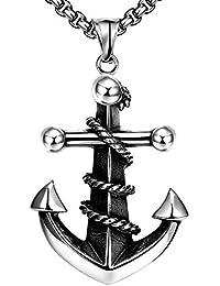 Rockyu ジュエリー メンズ ネックレス 船 アンカー チョーカー ステンレス アンティーク メンズチェーンネックレス